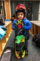 Farhan's son in snowsuit